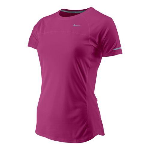 Womens Nike Miler Short Sleeve Technical Tops - Fandago Pink XL