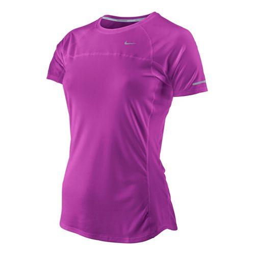 Womens Nike Miler Short Sleeve Technical Tops - Magenta XS
