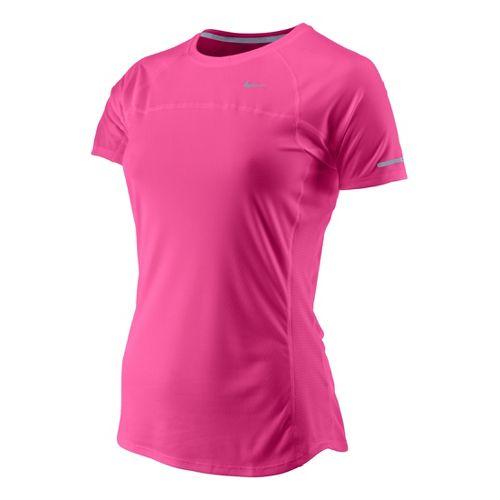 Womens Nike Miler Short Sleeve Technical Tops - Pink Rose S