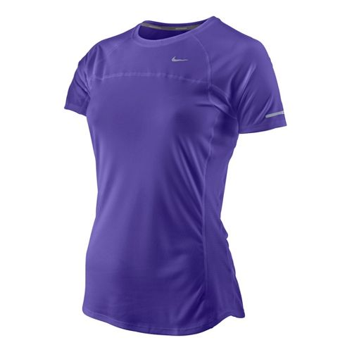 Womens Nike Miler Short Sleeve Technical Tops - Purple Fizz XS