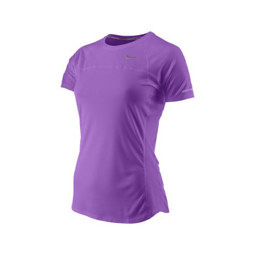 Womens Nike Miler Short Sleeve Technical Tops - Purple XS