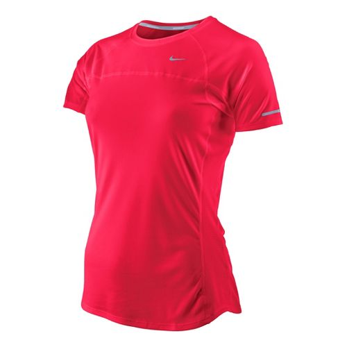 Womens Nike Miler Short Sleeve Technical Tops - Roxy Red XL
