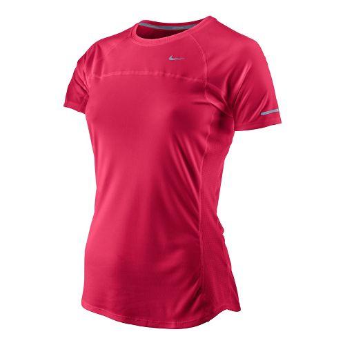 Womens Nike Miler Short Sleeve Technical Tops - Scarlet M