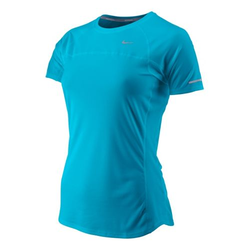 Womens Nike Miler Short Sleeve Technical Tops - Turquoise M