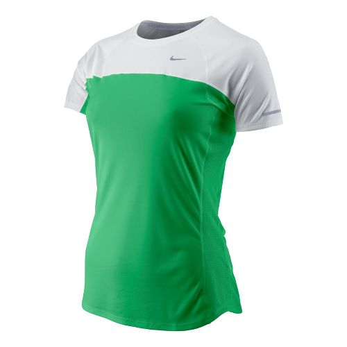 Womens Nike Miler Short Sleeve Technical Tops - White/Bright Green XS