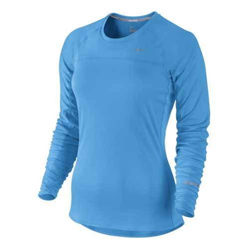 Womens Nike Miler Long Sleeve No Zip Technical Tops - Arctic Blue L