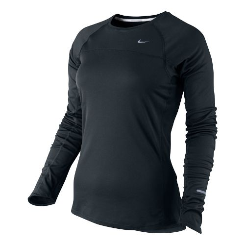Womens Nike Miler Long Sleeve No Zip Technical Tops - Black XL