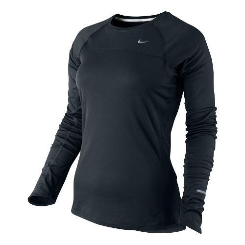 Womens Nike Miler Long Sleeve No Zip Technical Tops - Black XS