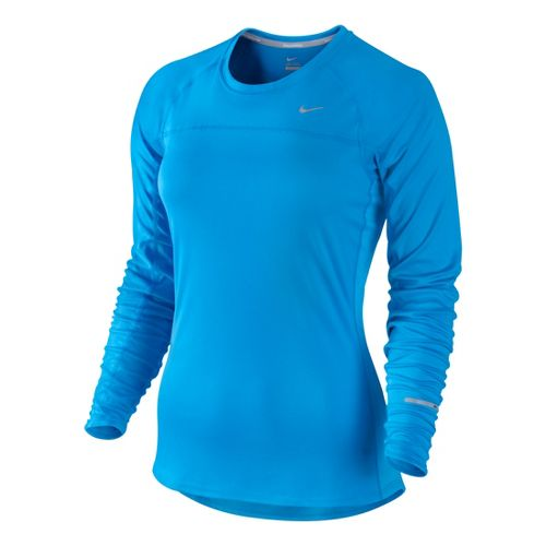 Womens Nike Miler Long Sleeve No Zip Technical Tops - Brilliant Blue L