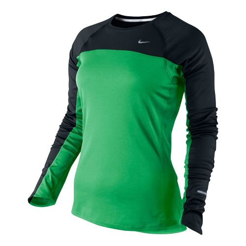 Womens Nike Miler Long Sleeve No Zip Technical Tops - Bright Green/Black XS