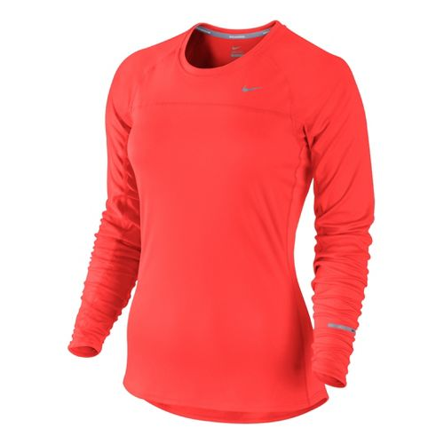 Womens Nike Miler Long Sleeve No Zip Technical Tops - Crimson Red XS