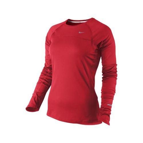 Womens Nike Miler Long Sleeve No Zip Technical Tops - Crimson L
