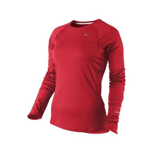 Womens Nike Miler Long Sleeve No Zip Technical Tops - Crimson S