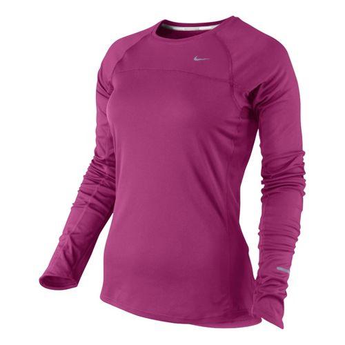Womens Nike Miler Long Sleeve No Zip Technical Tops - Fandago Pink XS