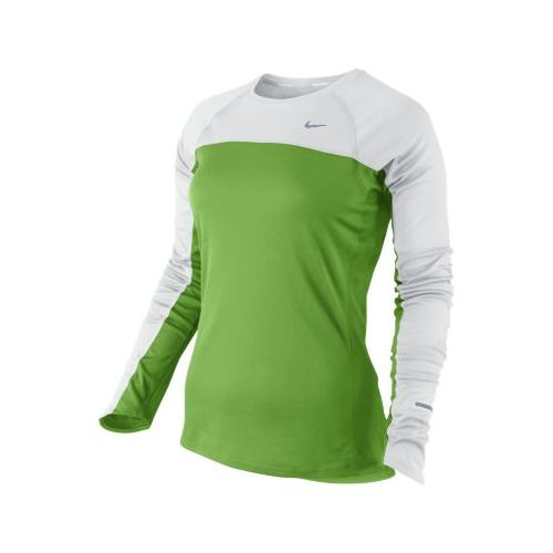 Womens Nike Miler Long Sleeve No Zip Technical Tops - Green Apple/White L