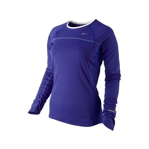 Womens Nike Miler Long Sleeve No Zip Technical Tops - Grape XS