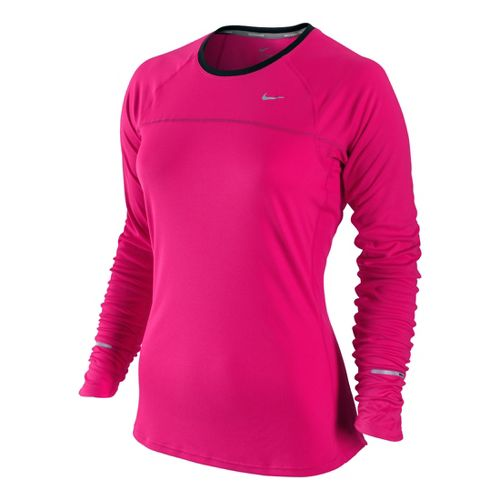 Womens Nike Miler Long Sleeve No Zip Technical Tops - Pink Flame XL