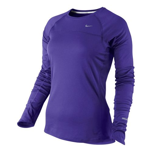 Womens Nike Miler Long Sleeve No Zip Technical Tops - Purple S