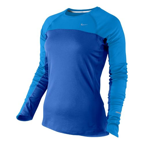 Womens Nike Miler Long Sleeve No Zip Technical Tops - Starlight Blue/Pacific Blue L