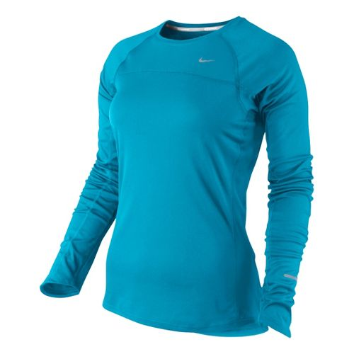 Womens Nike Miler Long Sleeve No Zip Technical Tops - Turquoise XS