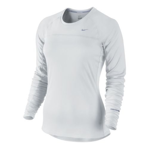 Womens Nike Miler Long Sleeve No Zip Technical Tops - White XS