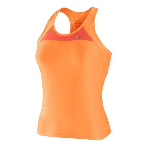 Womens Nike Long Swift Y Back Sport Top Bras - Peach/Coral S