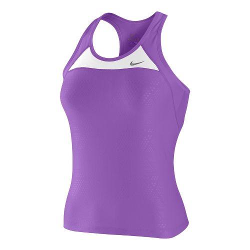 Womens Nike Long Swift Y Back Sport Top Bras - Violet/White L