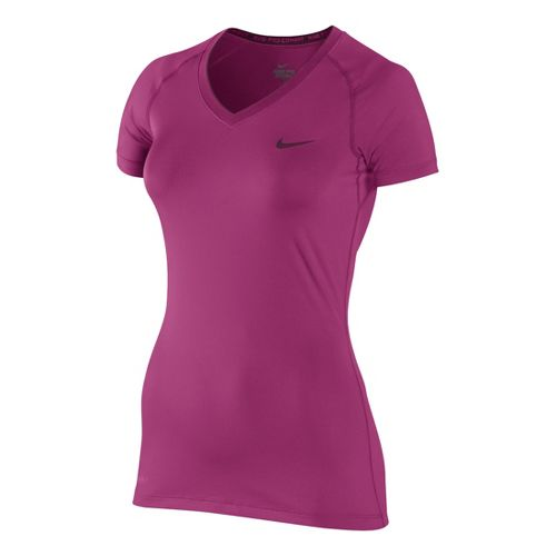 Womens Nike Pro V Neck II Short Sleeve Technical Tops - Fandago Pink XL