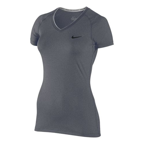 Womens Nike Pro V Neck II Short Sleeve Technical Tops - Heather Grey L