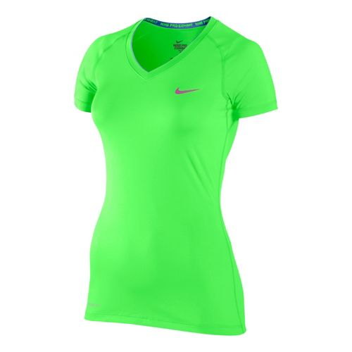 Womens Nike Pro V Neck II Short Sleeve Technical Tops - Limelight M