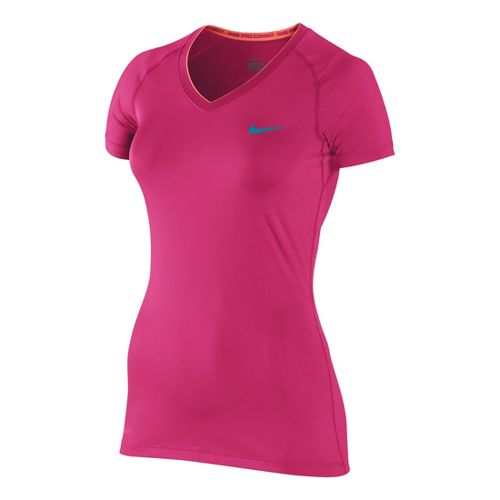 Womens Nike Pro V Neck II Short Sleeve Technical Tops - Pink Shock XL