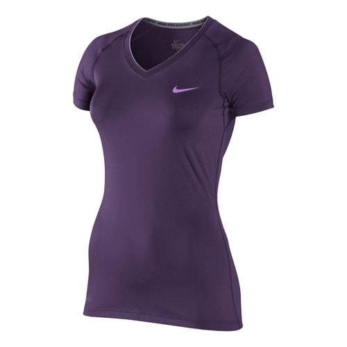Womens Nike Pro V Neck II Short Sleeve Technical Tops - Plum XS