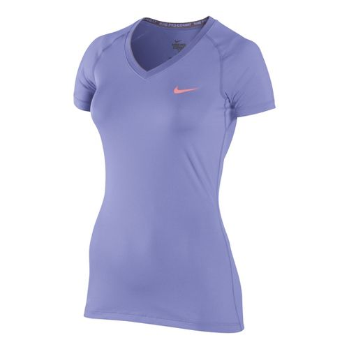 Womens Nike Pro V Neck II Short Sleeve Technical Tops - Violet XS