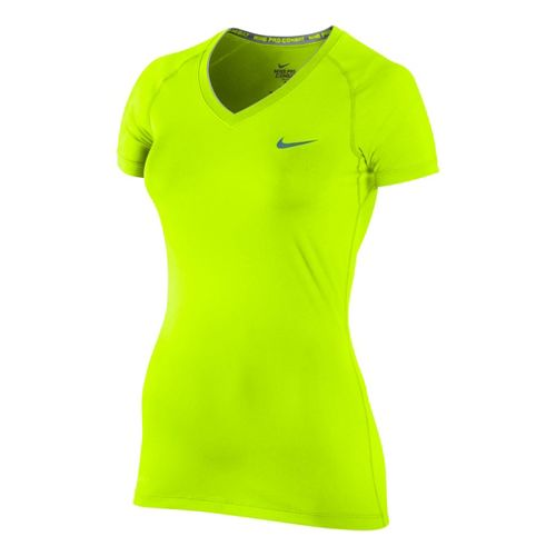 Womens Nike Pro V Neck II Short Sleeve Technical Tops - Volt XS