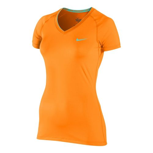 Womens Nike Pro V Neck II Short Sleeve Technical Tops - Vibrant Orange XS