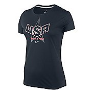 Womens Nike Challenger T+F Country Short Sleeve Technical Tops