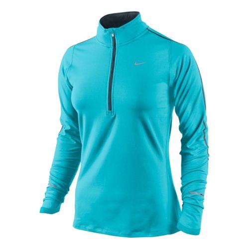 Womens Nike Element Long Sleeve 1/2 Zip Technical Tops - Aqua Blue L