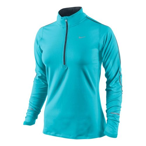 Womens Nike Element Long Sleeve 1/2 Zip Technical Tops - Aqua Blue S