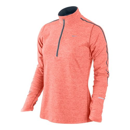 Womens Nike Element Long Sleeve 1/2 Zip Technical Tops - Atomic Pink/Heather L
