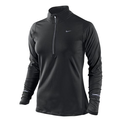 Womens Nike Element Long Sleeve 1/2 Zip Technical Tops - Black M