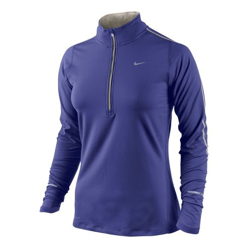 Womens Nike Element Long Sleeve 1/2 Zip Technical Tops - Blue Night XS