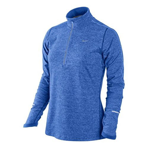 Womens Nike Element Long Sleeve 1/2 Zip Technical Tops - Cobalt/Heather S