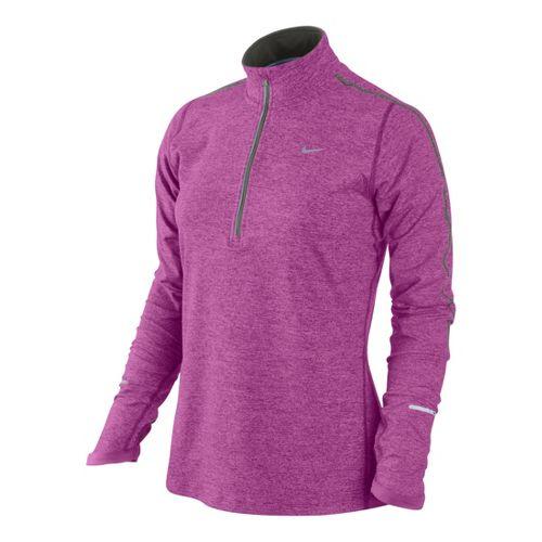 Womens Nike Element Long Sleeve 1/2 Zip Technical Tops - Dark Pink/Heather S