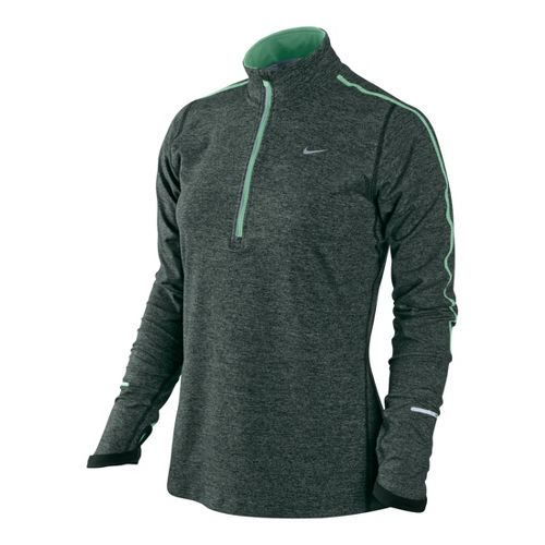 Womens Nike Element Long Sleeve 1/2 Zip Technical Tops - Dark Olive/Heather L