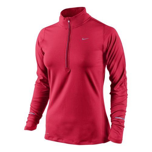 Womens Nike Element Long Sleeve 1/2 Zip Technical Tops - Fire Red XL