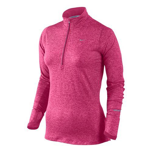 Womens Nike Element Long Sleeve 1/2 Zip Technical Tops - Fuschia/Heather S