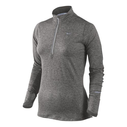 Womens Nike Element Long Sleeve 1/2 Zip Technical Tops - Heather Grey XS