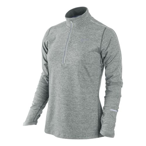Womens Nike Element Long Sleeve 1/2 Zip Technical Tops - Light Grey/Heather L