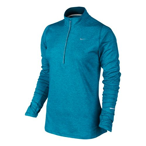 Womens Nike Element Long Sleeve 1/2 Zip Technical Tops - Lake Blue L