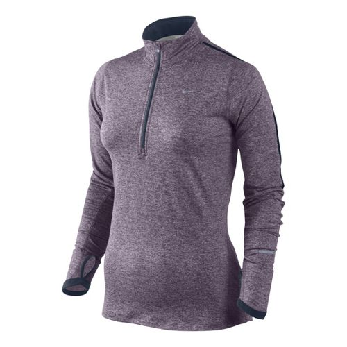 Womens Nike Element Long Sleeve 1/2 Zip Technical Tops - Plum S
